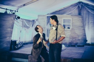 "Steven McCarthy's ""Cain"" asks Brandon Oakes' ""Clem"" for a diagnosis. Photo by Juan Camilo Palacio."
